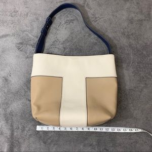 Tory Burch Block T Leather Tote Cream and Navy
